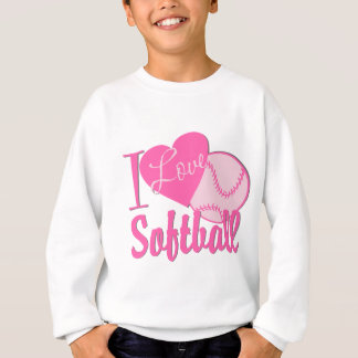 I Love Softball Pink Sweatshirt