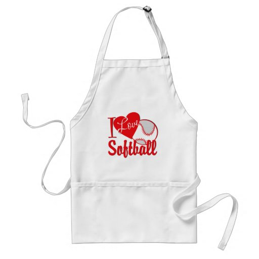 I Love Softball Red Aprons