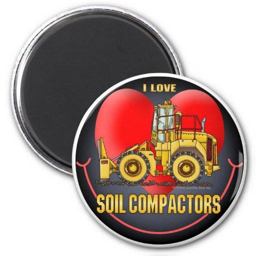 I Love Soil Compactors Round Magnet