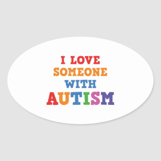 I Love Someone With Autism Oval Sticker