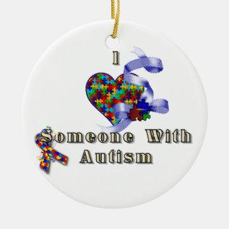 I love someone with autism round ceramic ornament