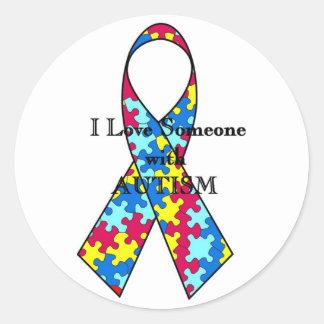 I Love Someone With Autism Round Sticker