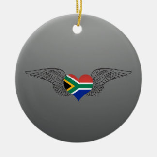 I Love South Africa -wings Ceramic Ornament