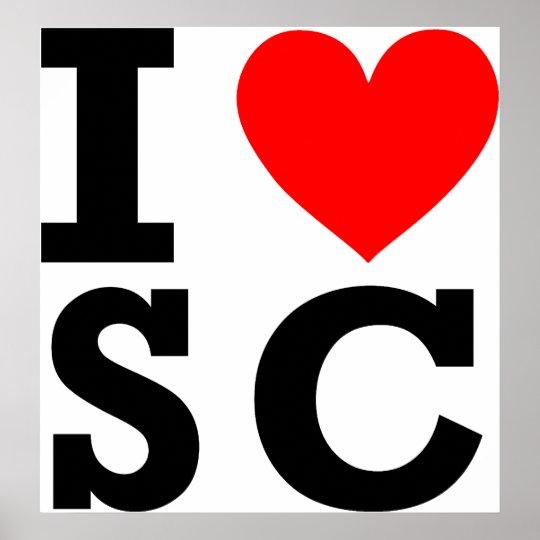 I Love South Carolina Design Poster