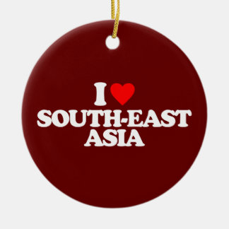 I LOVE SOUTH-EAST ASIA Double-Sided CERAMIC ROUND CHRISTMAS ORNAMENT