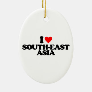 I LOVE SOUTH-EAST ASIA Double-Sided OVAL CERAMIC CHRISTMAS ORNAMENT