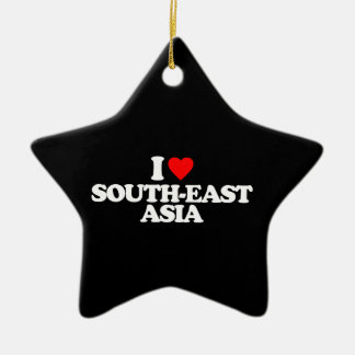 I LOVE SOUTH-EAST ASIA Double-Sided STAR CERAMIC CHRISTMAS ORNAMENT