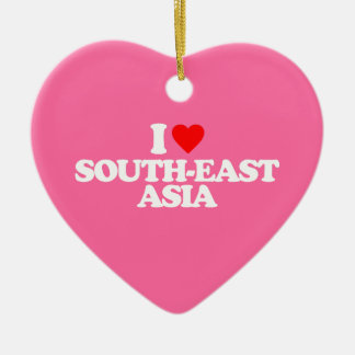 I LOVE SOUTH-EAST ASIA Double-Sided HEART CERAMIC CHRISTMAS ORNAMENT