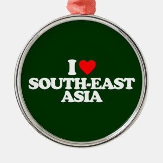 I LOVE SOUTH-EAST ASIA ROUND METAL CHRISTMAS ORNAMENT