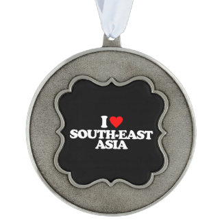 I LOVE SOUTH-EAST ASIA SCALLOPED PEWTER ORNAMENT