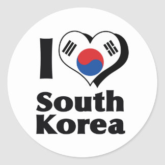 I Love South Korea Flag Classic Round Sticker