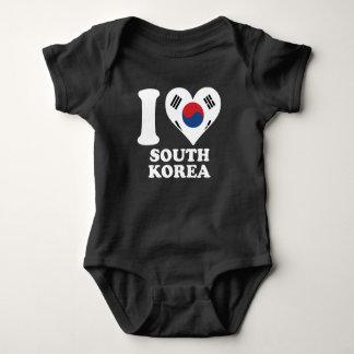 I Love South Korea Korean Flag Heart Baby Bodysuit