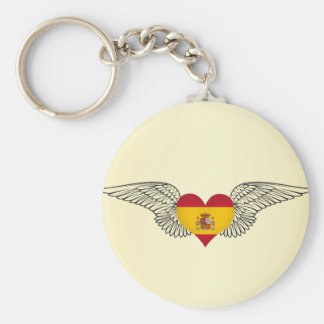 I Love Spain -wings Basic Round Button Keychain