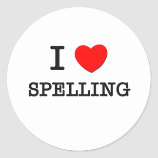 I Love Spelling Classic Round Sticker