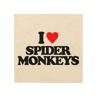 I LOVE SPIDER MONKEYS WOOD PRINTS