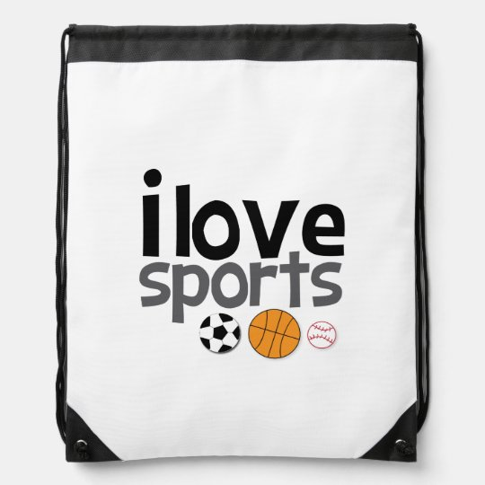 I Love Sports Drawstring Back Pack Drawstring Backpacks