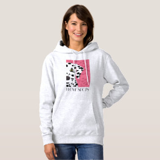 """I Love Spots"" - Pink, Black & White Dalmatian Hoodie"