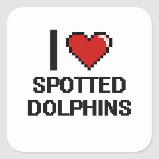 I love Spotted Dolphins Digital Design Square Sticker
