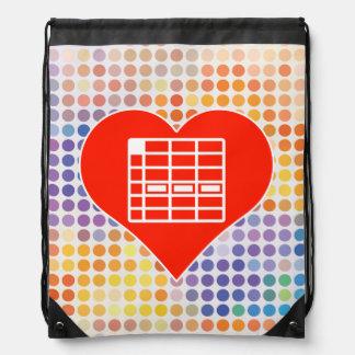 I Love Spreadsheet Drawstring Backpack
