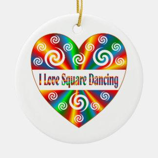 I Love Square Dancing Round Ceramic Ornament
