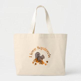 I Love Squirrels Large Tote Bag