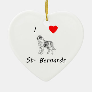 I Love St. Bernards Ceramic Heart Ornament