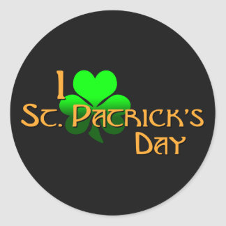 I Love St. Patrick's Day Round Stickers