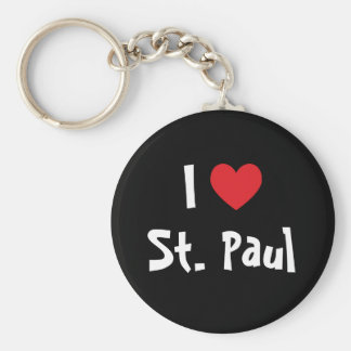 I Love St. Paul Basic Round Button Keychain