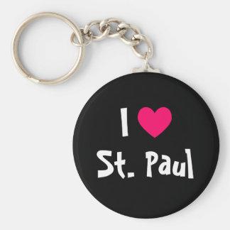 I Love St. Paul Basic Round Button Keychain