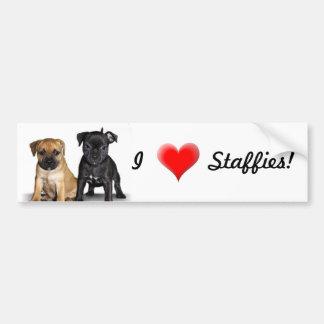 I Love Staffies bumper sticker