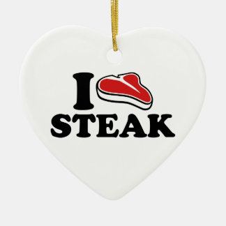 I love Steak Ceramic Ornament
