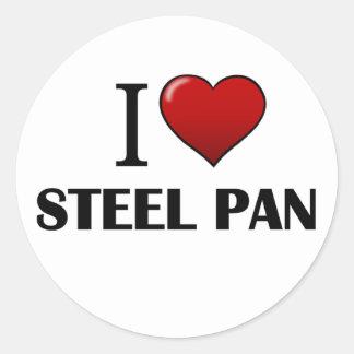 I Love Steel Pan Round Sticker