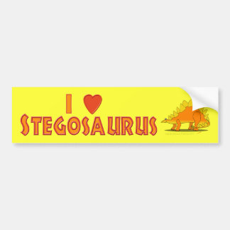 I Love Stegosaurus Cute Cartoon Dinosaur Lovers Bumper Sticker