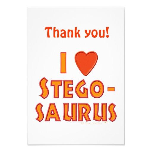 I Love Stegosaurus Dinosaur Lovers Personalized Invitations