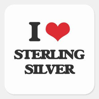 I love Sterling Silver Square Sticker