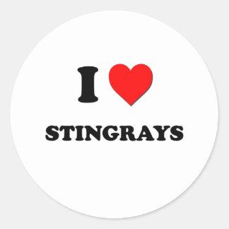 I Love Stingrays Round Sticker