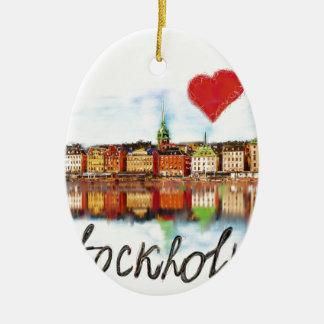 I love Stockholm Ceramic Oval Ornament