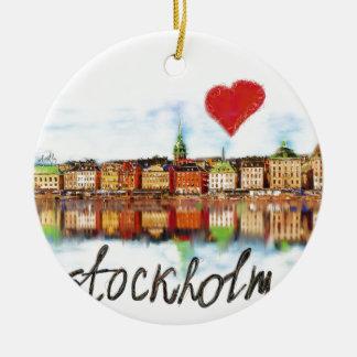 I love Stockholm Round Ceramic Ornament