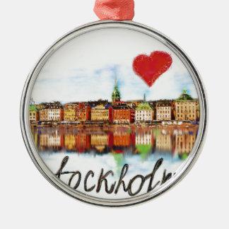 I love Stockholm Silver-Colored Round Ornament