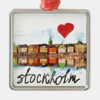 I love Stockholm Silver-Colored Square Ornament