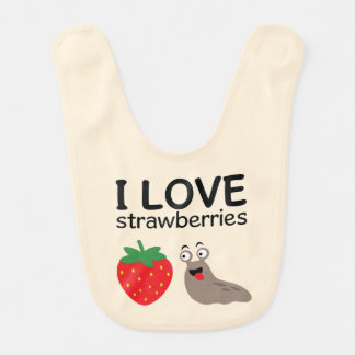 I Love Strawberries Illustration Bib
