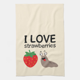 I Love Strawberries Illustration Kitchen Towel