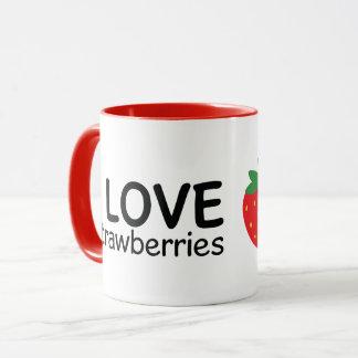 I Love Strawberries Illustration Mug