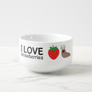 I Love Strawberries Illustration Soup Mug