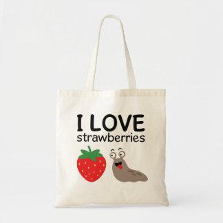 I Love Strawberries Illustration Tote Bag