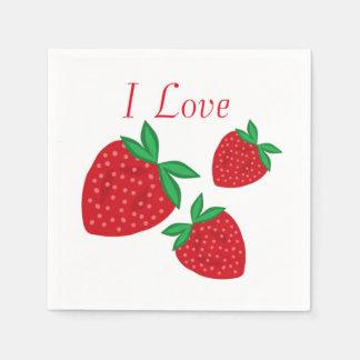 I Love Strawberries Paper Napkins