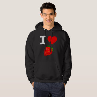 I Love Strawberry Fruits Nature Candy Vegan Berry Hoodie