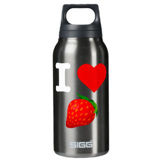 I Love Strawberry Fruits Nature Candy Vegan Berry Insulated Water Bottle