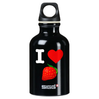 I Love Strawberry Fruits Nature Candy Vegan Berry Water Bottle