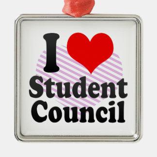 I love Student Council Silver-Colored Square Ornament